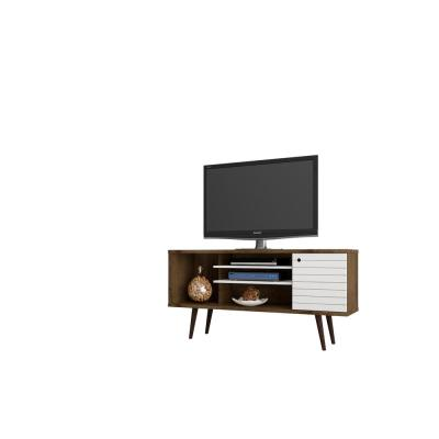 Liberty 53 in. Rustic Brown and White Composite TV Stand Fits TVs Up to 50 in. with Storage Doors