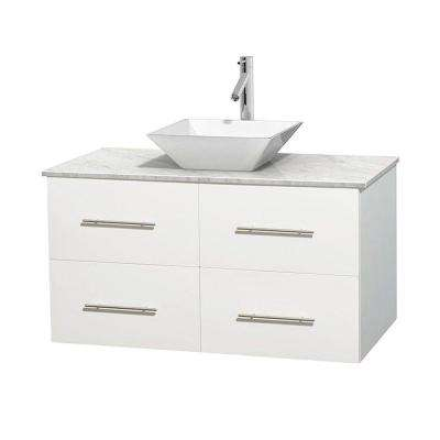 Centra 42 in. Vanity in White with Marble Vanity Top in Carrara White and Porcelain Sink