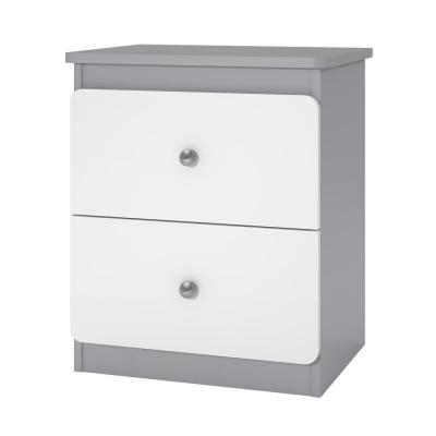 Hazelwood 2-Drawer Gray/White Nightstand
