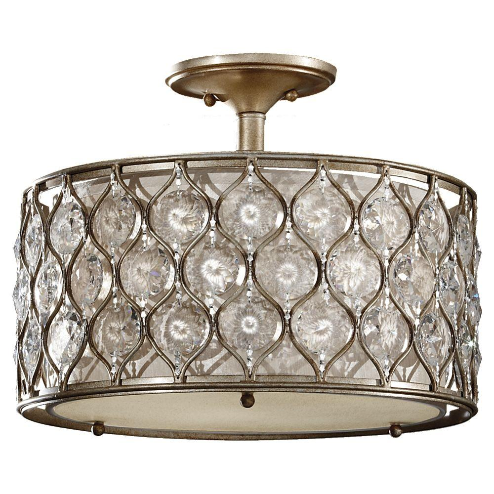 Feiss Lucia 3 Light Burnished Silver Semi Flush Mount