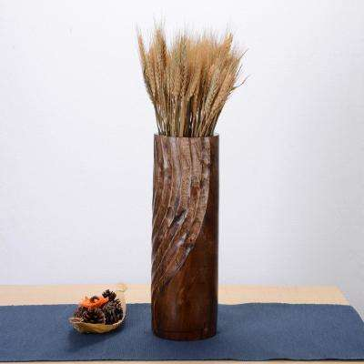 15 in. Tall Handmade Decorative Mango Wood Half Swirl Tower Vase in Brown