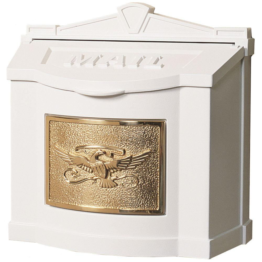 Eagle Accent Wall Mount Mailbox White with Polished Brass