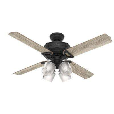 Brunswick 52 in. LED Indoor Natural Iron Ceiling Fan with Integrated Handheld Remote and 4-light kit