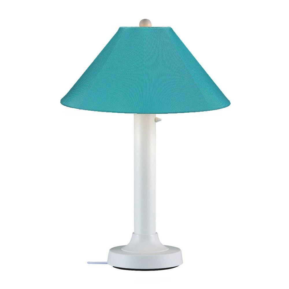 Patio Living Concepts Catalina 34 in. White Outdoor Table Lamp with Aruba Shade