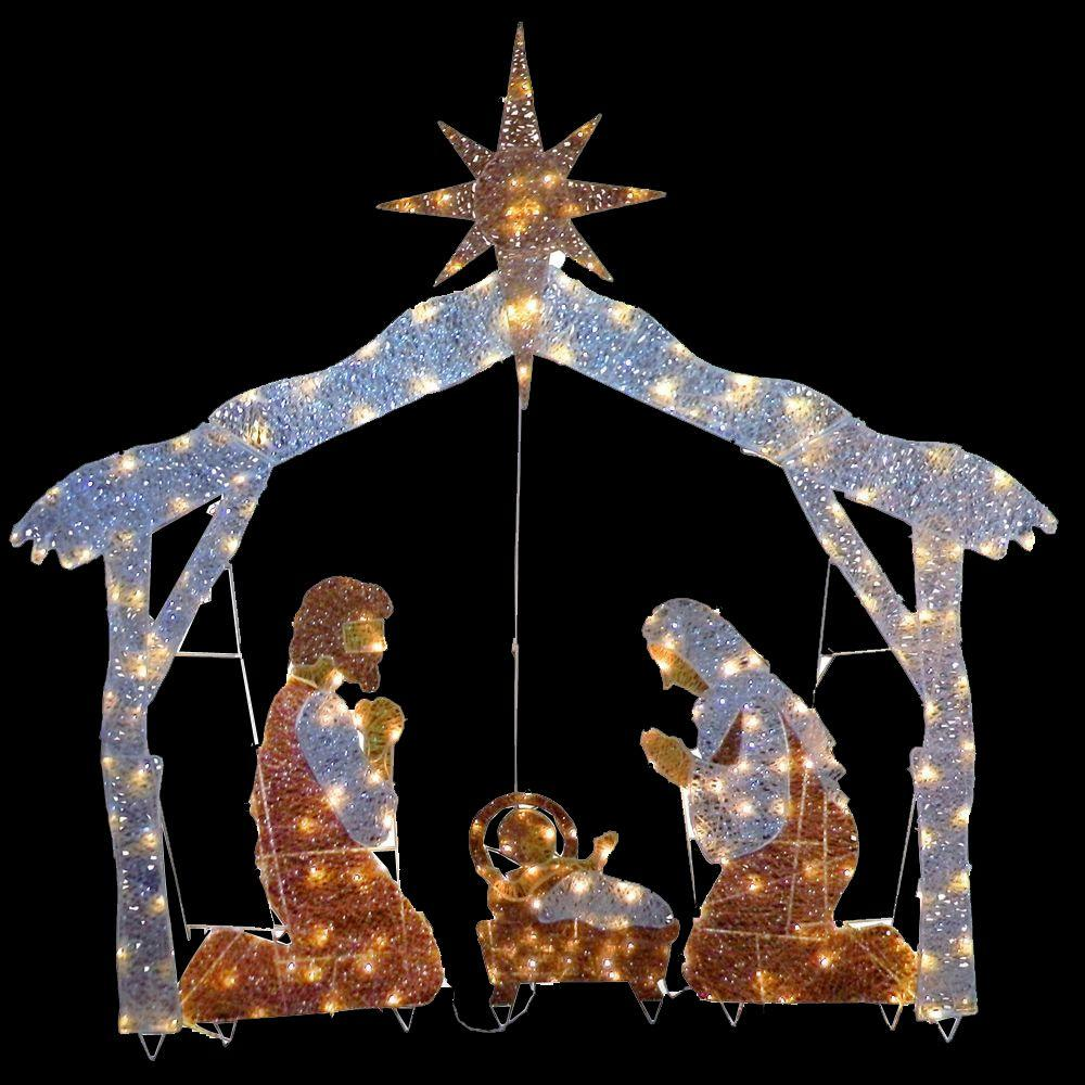 National tree company 72 in nativity scene with clear for Outdoor lighted christmas ornaments
