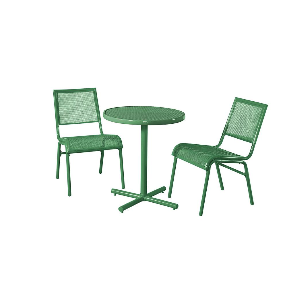 Green 3 Piece Metal Bixby Outdoor Bistro Set