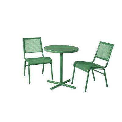 Green 3-Piece Metal Bixby Outdoor Bistro Set
