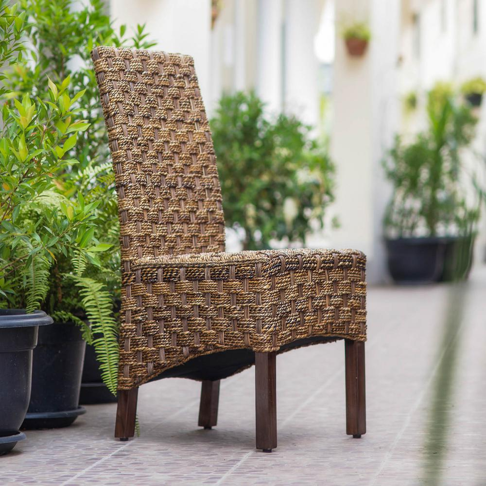 Manila abaca and rattan wicker basket weave dining chairs with mahogany hardwood frame set of 2 sg 3308 2ch the home depot