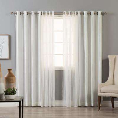 84 in. L uMIXm Tulle and Ivory Faux Silk Blackout Curtain (4-Pack)