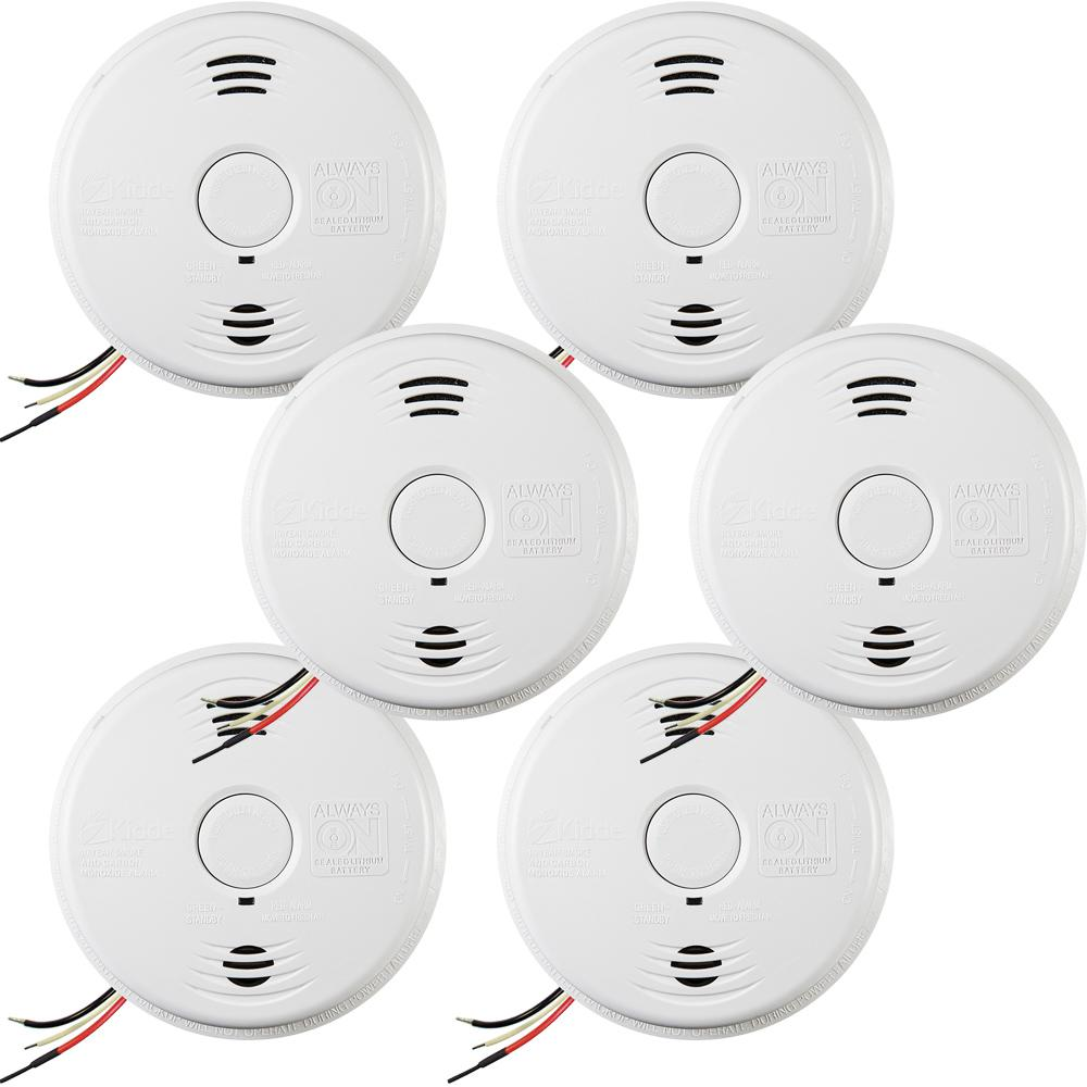 Kidde 10-Year Worry Free Hardwire Smoke and Carbon Monoxide Combination Detector with Battery Backup and Voice Alarm (6-Pack)