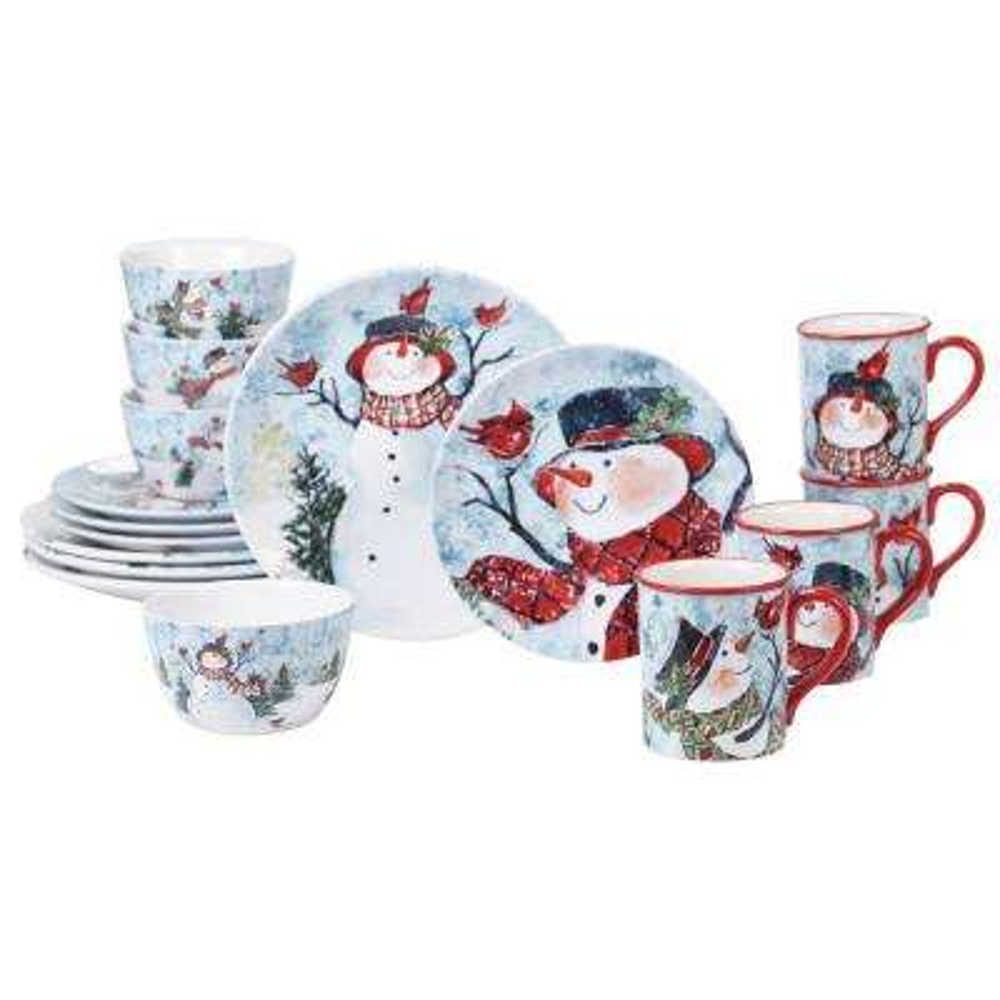 Watercolor Snowman 16-pc Dinnerware Set