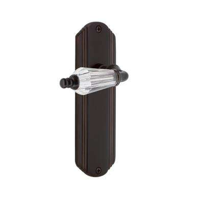 Deco Plate 2-3/8 in. Backset Timeless Bronze Privacy Bed/Bath Parlor Lever