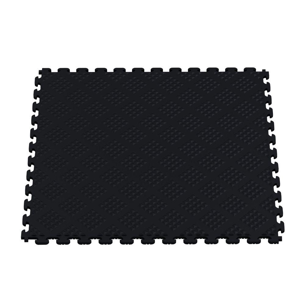 Multi-Purpose Black 18.3 in. x 18.3 in. PVC Garage Flooring Tile