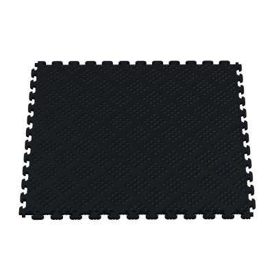 Multi-Purpose Black 18.3 in. x 18.3 in. PVC Garage Flooring Tile with Raised Coin Pattern (6-Pieces)