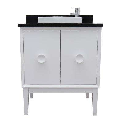 Stora 31 in. W x 22 in. D Bath Vanity in White with Granite Vanity Top in Black with White Round Basin