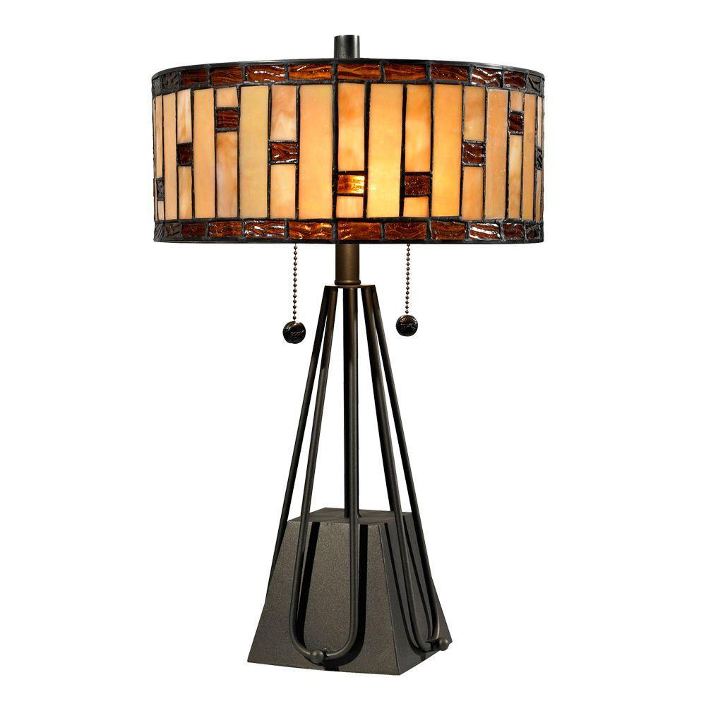 Springdale Lighting Mojave 19 in. Tiffany 2-Light Dark Bronze Table Lamp