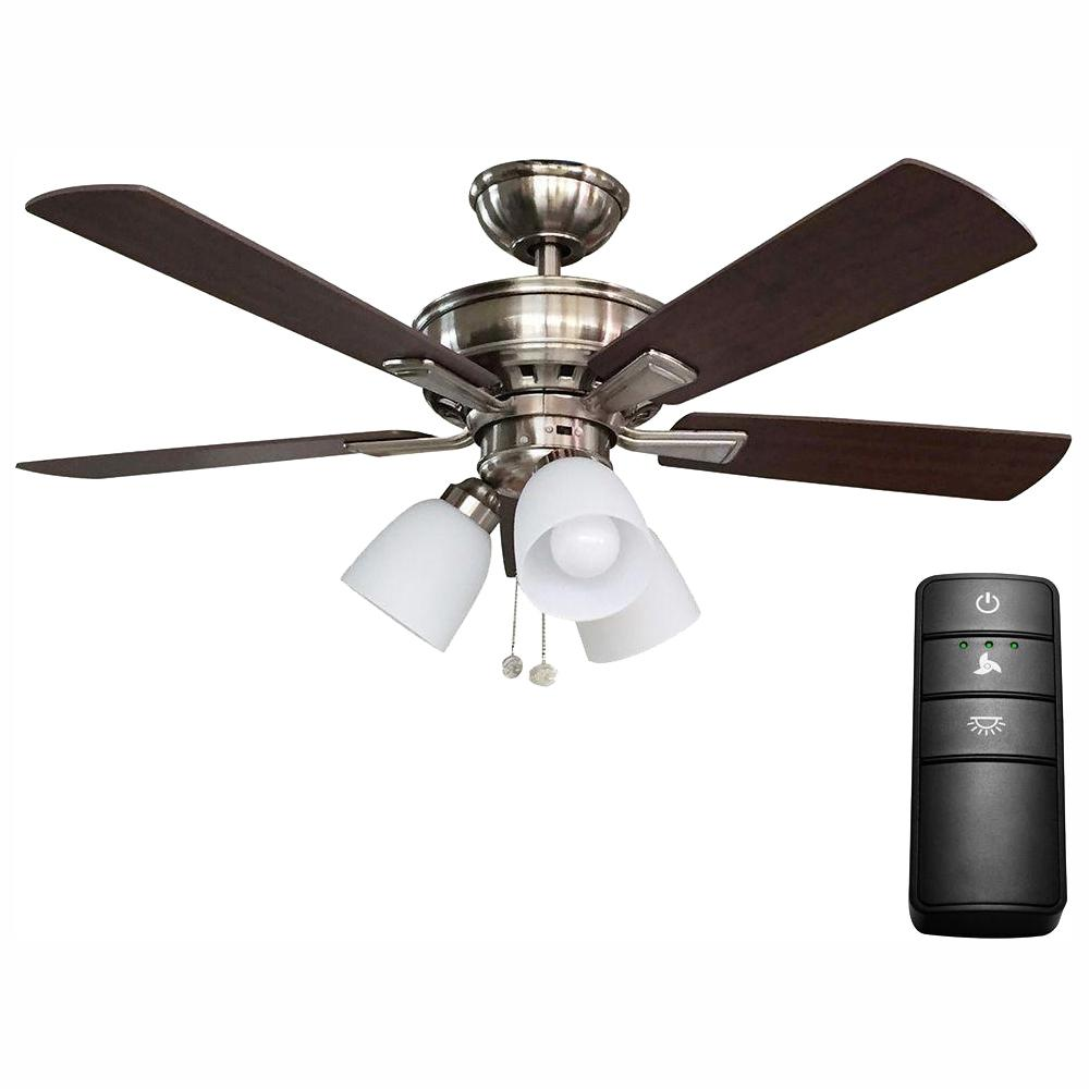 Hampton Bay Vaurgas 44 In Led Brushed Nickel Ceiling Fan With Light Kit And Remote Control 19971 The Home Depot
