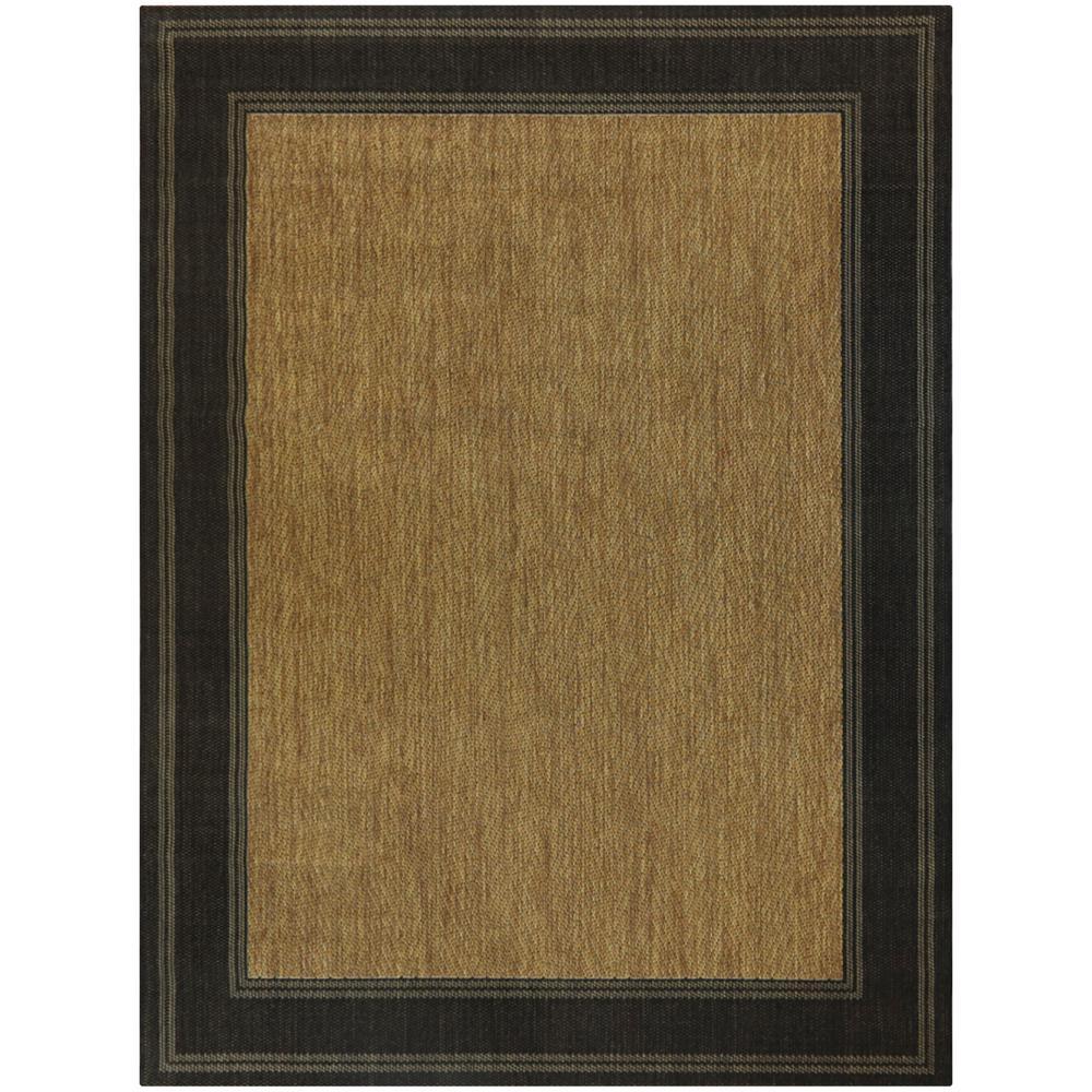 Brown with Black Border 8 ft. x 10 ft. Indoor/Outdoor Area Rug