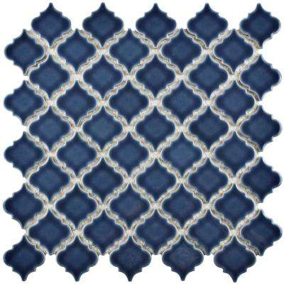 Hudson Tangier Denim Blue 12-3/8 in. x 12-1/2 in. x 5 mm Porcelain Mosaic Tile