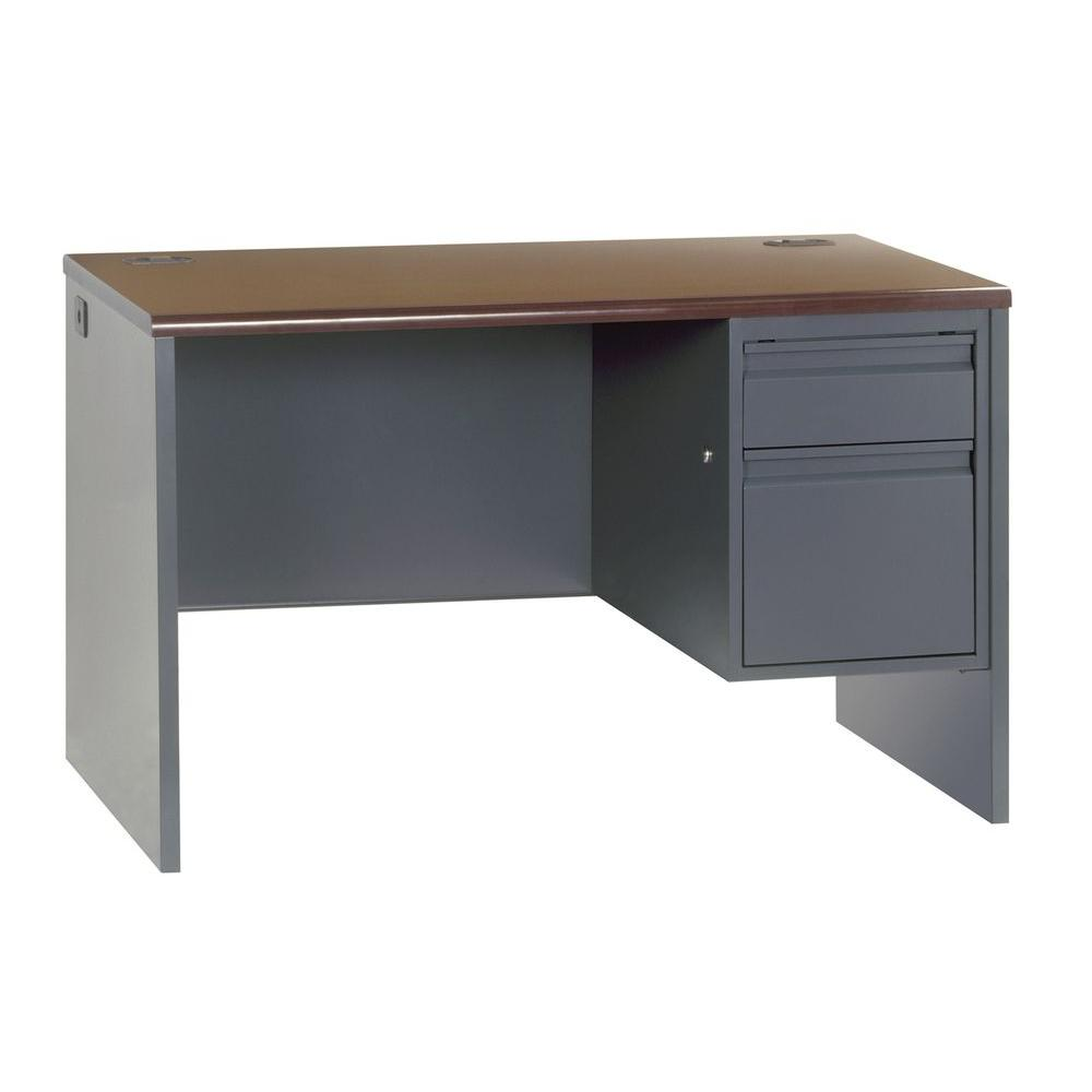 Sandusky 800 Series Single Pedestal Steel Desk In Charcoal Mahogan