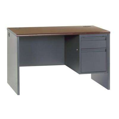 800 Series Single Pedestal Steel Desk in Charcoal/Mahogan