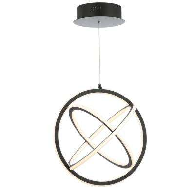 Orbit 16.5 in. Black Adjustable Integrated LED Metal Pendant