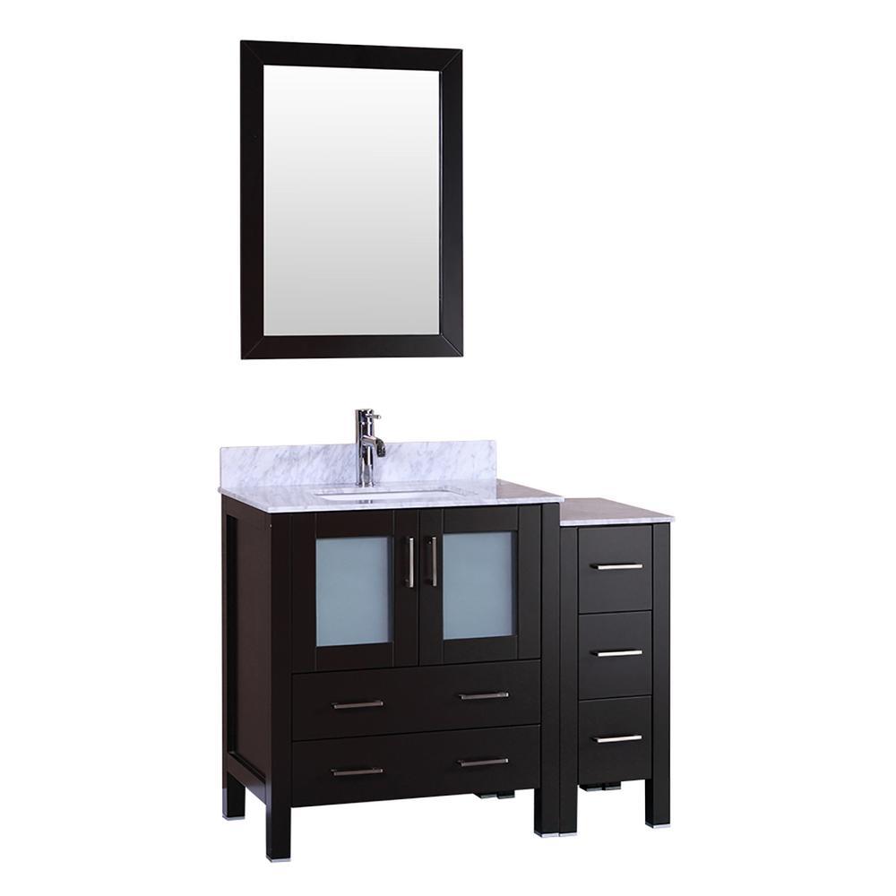 42 in. W Single Bath Vanity with Carrara Marble Vanity Top