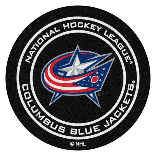 Columbus Blue Jackets Black 27 in. Round Hockey Puck Mat