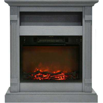 Sienna 34 in. Electric Fireplace with 1500-Watt Log Insert and Gray Mantel