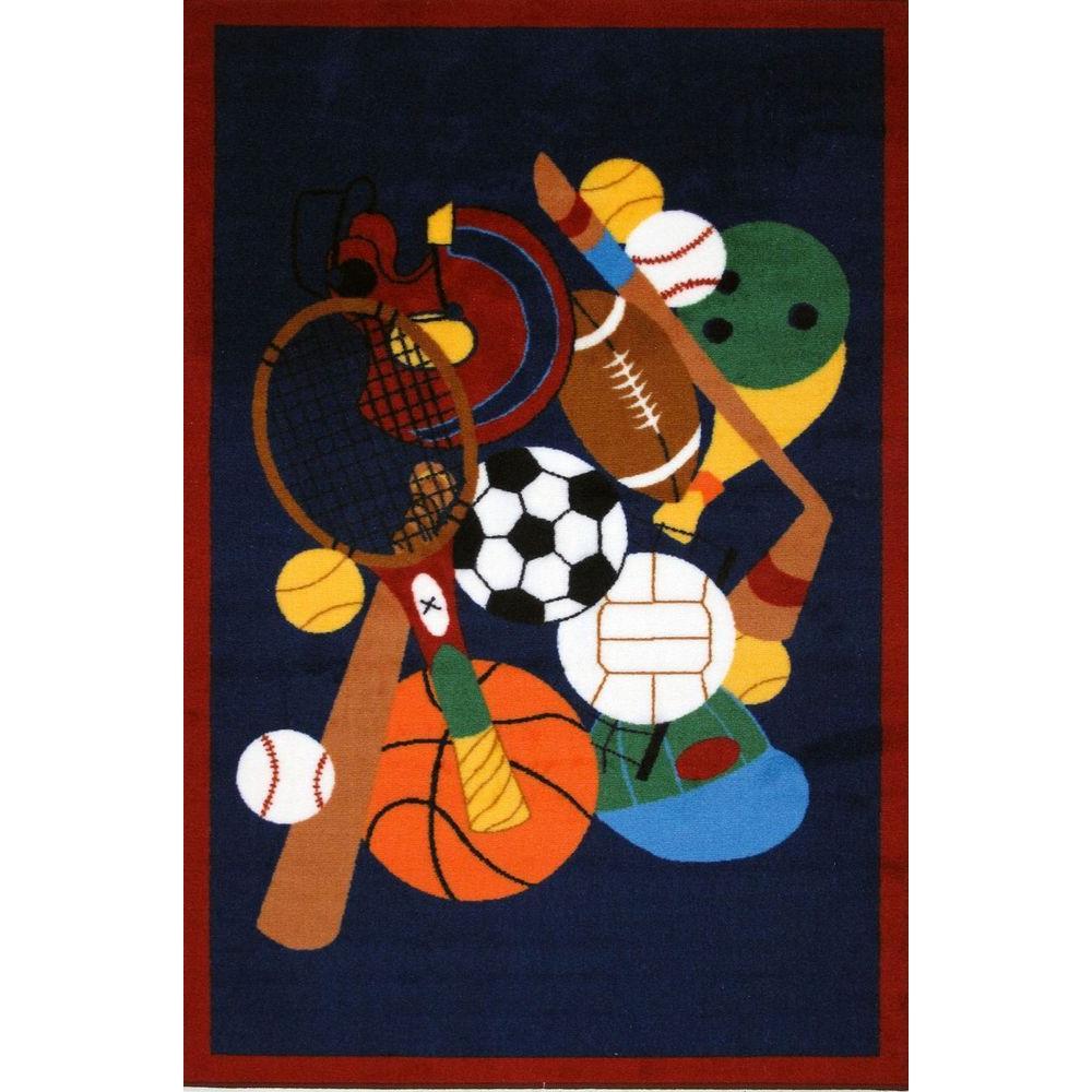 Fun Time Sports America Multi Colored 3 ft. x 5 ft. Area Rug