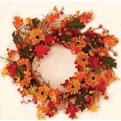 18 in. Sunflower and Acorn Wreath