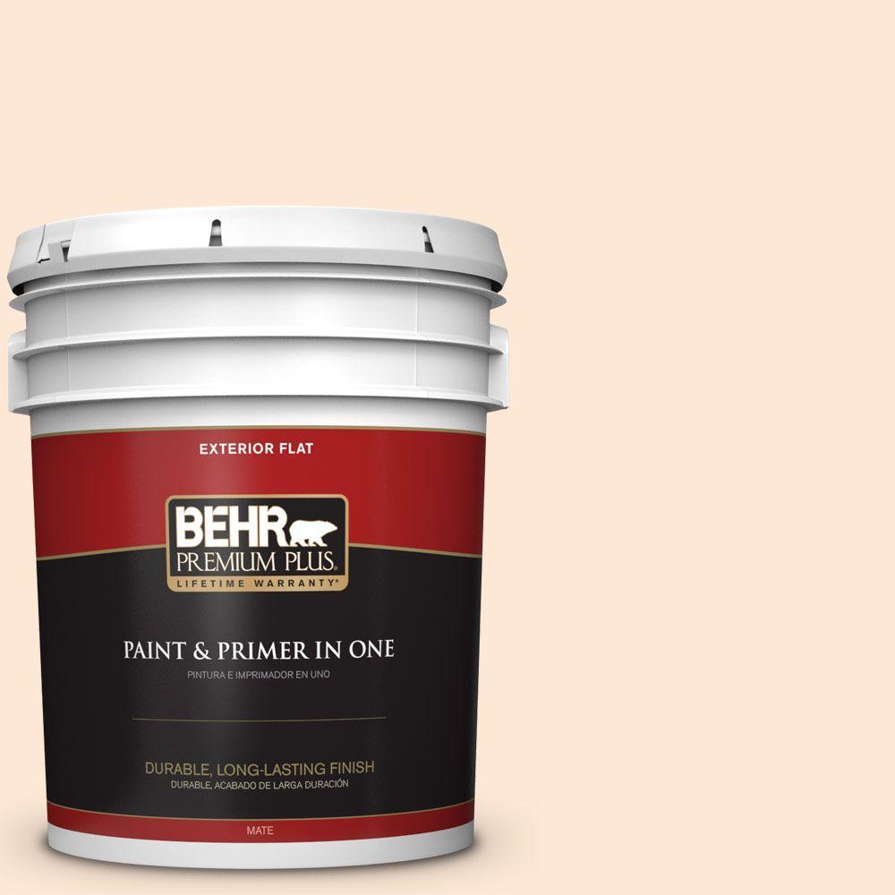 BEHR Premium Plus 5-gal. #270C-1 Naive Peach Flat Exterior Paint