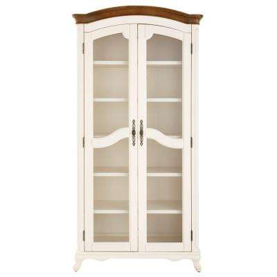 Provence Ivory Double Glass Door Bookcase with Ash Grey Top