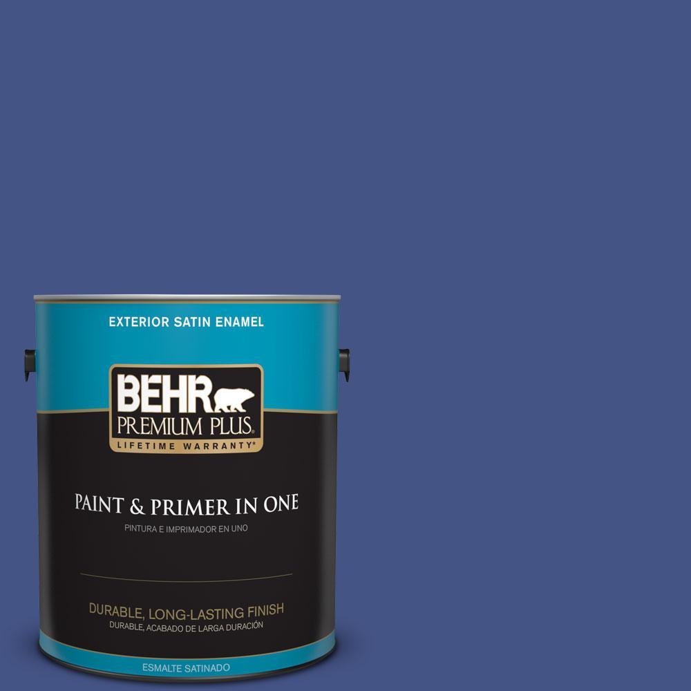 BEHR Premium Plus 1-gal. #600B-7 Yacht Club Blue Satin Enamel Exterior Paint