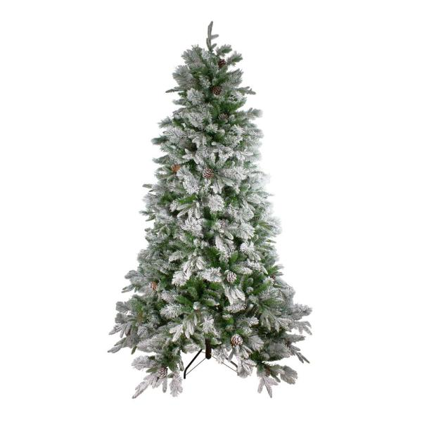 7.5 ft. Unlit Flocked Mixed Colorado Pine Artificial Christmas Tree