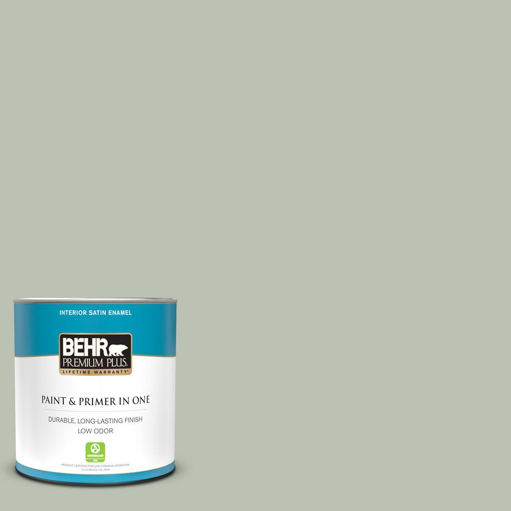 Behr Premium Plus 1 Qt Ppu11 11 Summer Green Satin Enamel Low Odor Interior Paint And Primer In One 705004 The Home Depot