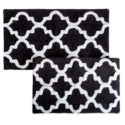 Trellis Black 24.5 in. x 41 in. 2-Piece Mat Set