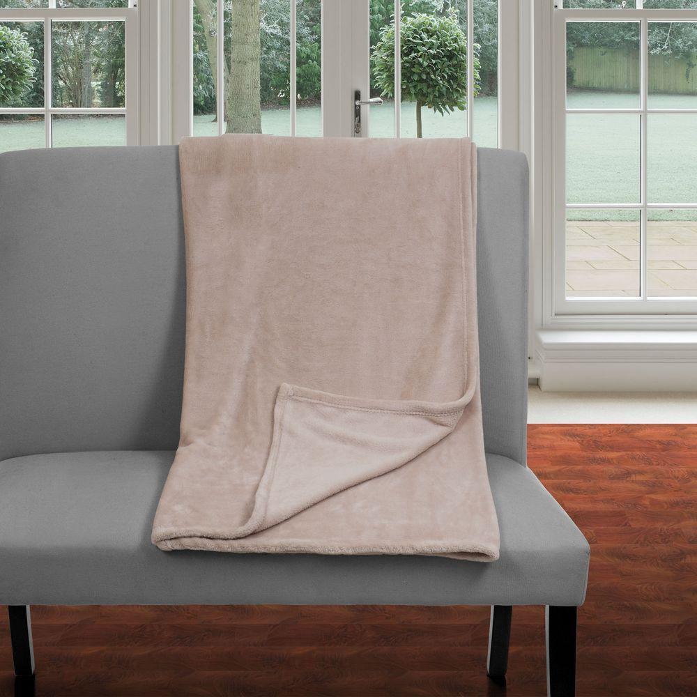 Beige Polyester Flannel Twin Blanket