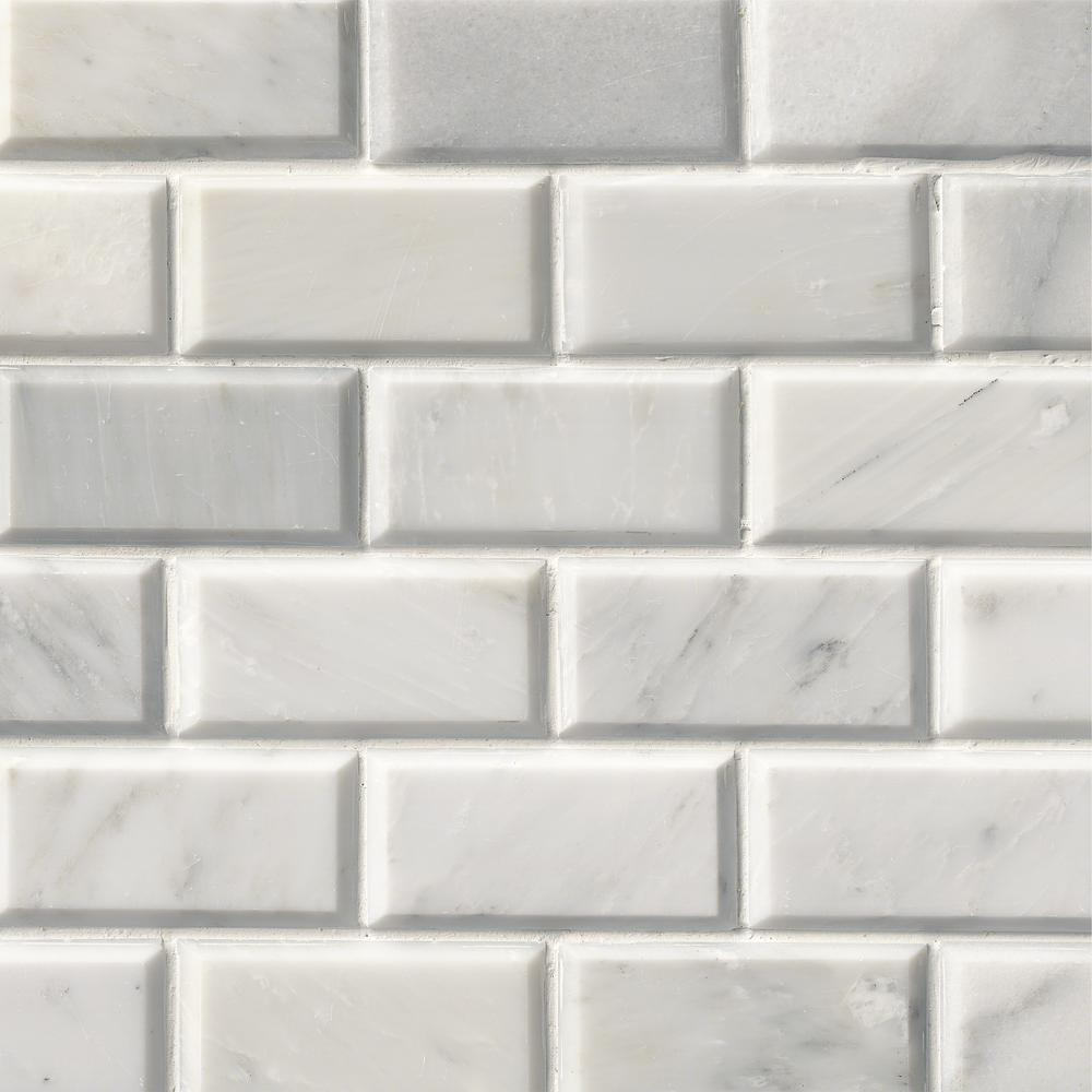 Greecian White 12 In X Polished Beveled Marble Mesh Mounted Mosaic
