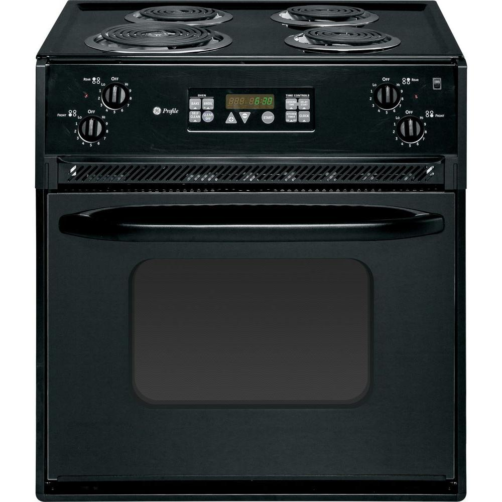 GE Profile 27 in. 3.0 cu. ft. Drop-In Electric Range with Self-Cleaning Oven in Black on Black