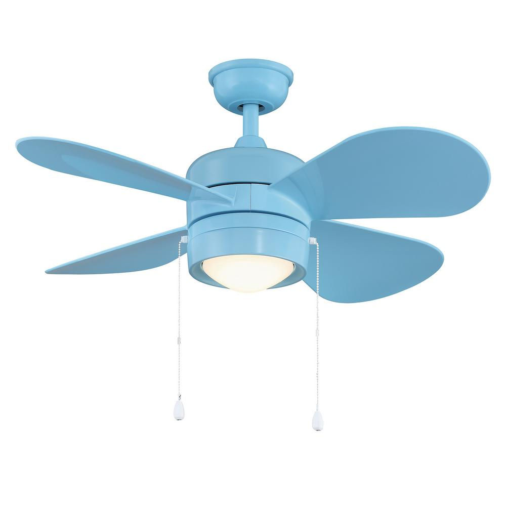 Home Decorators Collection Padgette 36 in. LED Blue Ceiling Fan on