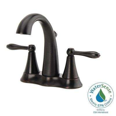 Montbeliard 4 in. Centerset 2-Handle Mid-Arc Bathroom Faucet in Oil Rubbed Bronze