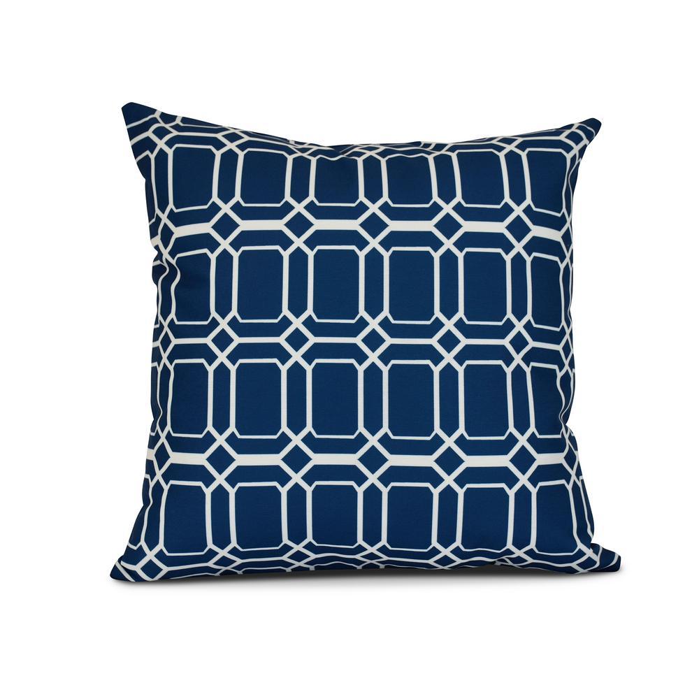 16 in. O the Fun Geometric Print Pillow in Blue