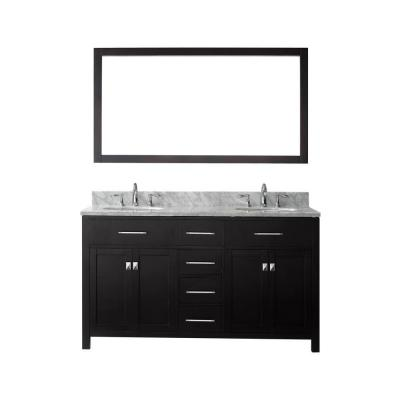 Virtu USA Caroline 60 in. W Bath Vanity in Espresso with Marble Vanity Top in White with Round Basin and Mirror