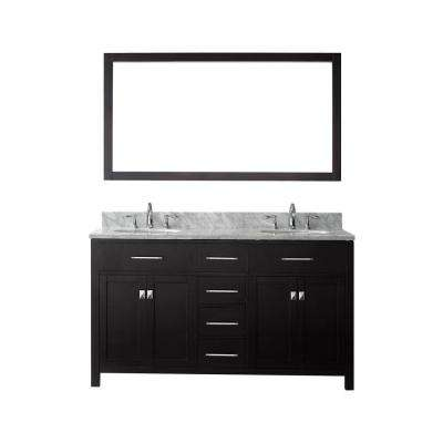 Caroline 60 in. W Bath Vanity in Espresso with Marble Vanity Top in White with Round Basin and Mirror