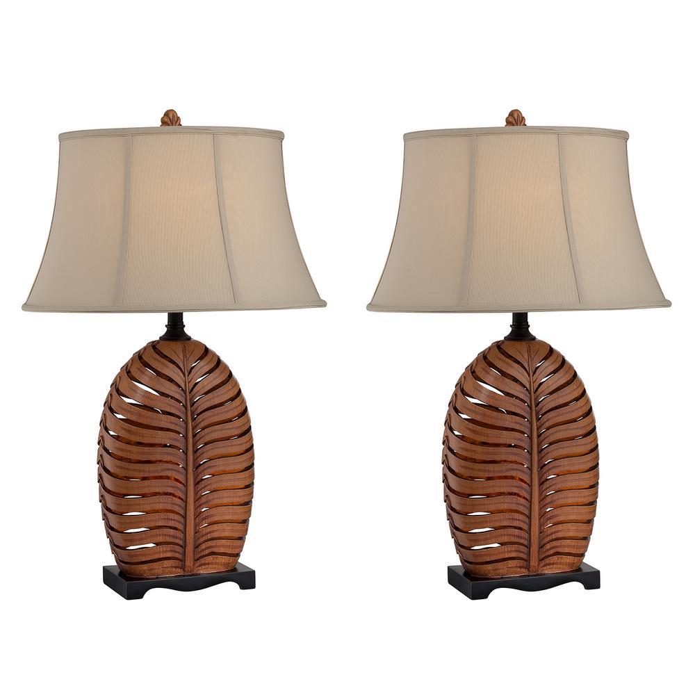 30.5 in. Antique Brown Indoor Table Lamp Set