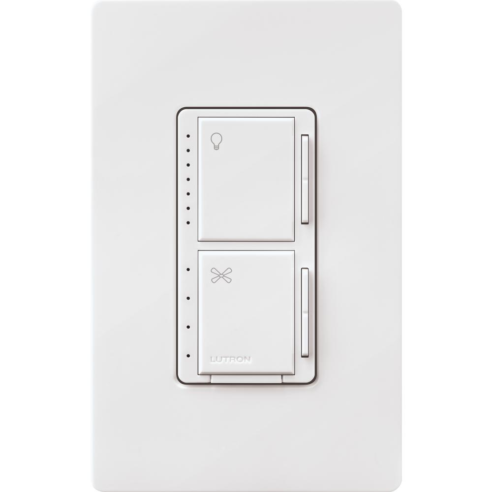 lutron maestro fan control and light dimmer for dimmable led's,  incandescent and halogen bulbs with wallplate, white-maestro-lfqhw-wh - the  home depot  the home depot