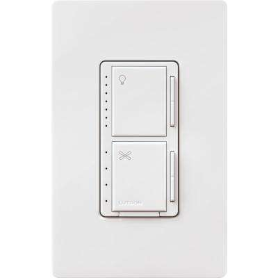 Maestro Fan Control and Light Dimmer for Dimmable LED's, Incandescent and Halogen Bulbs with Wallplate, White