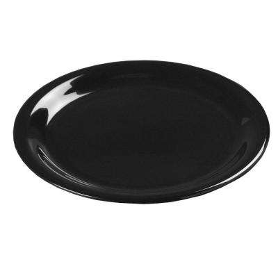 12 in. Diameter Melamine Wide Rim Dinner Plate in Black (Case of 12)