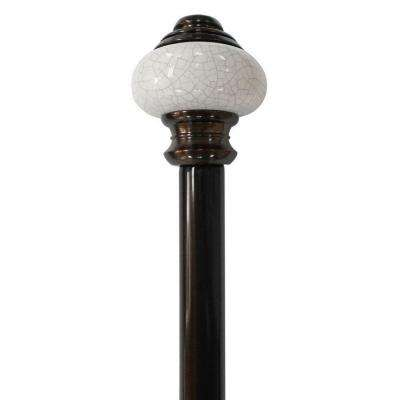 66 in. - 120 in. Telescoping 3/4 in. Single Curtain Rod Kit in Antique Bronze with Vintage Ceramic Finial
